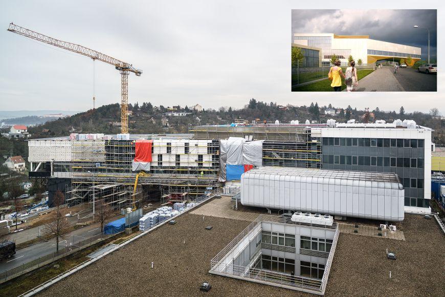 Stavba Simulačního centra vprosinci minulého roku avizualizace finální podoby.