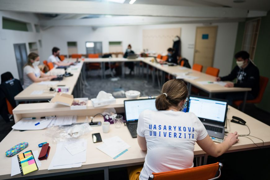 Coordination centre of volunteers at Masaryk university headquarters