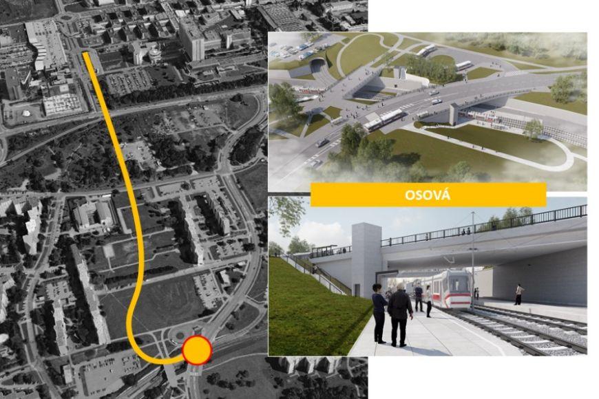 Nové řešení zastávky Osová avjezd do tunelu.