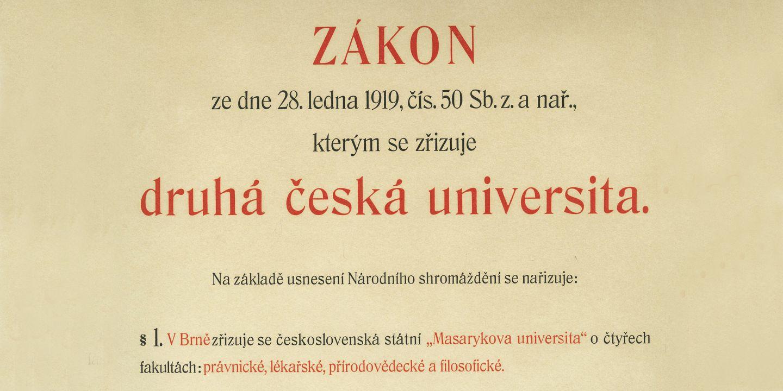 Snímek části zákona, kterým byla oficiálně založena Masarykova univerzita.