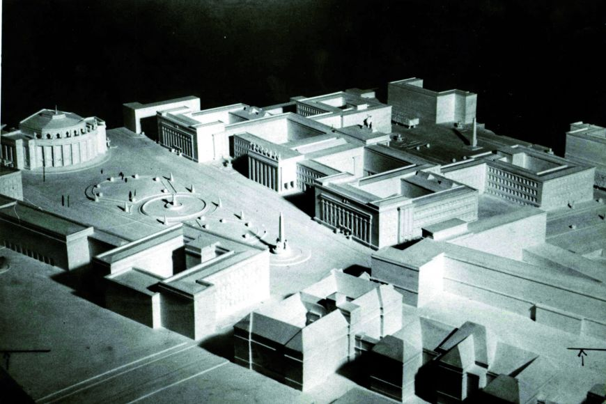Model of originally planned campus in Veveří street. Only the Faculty of Law MU was built.