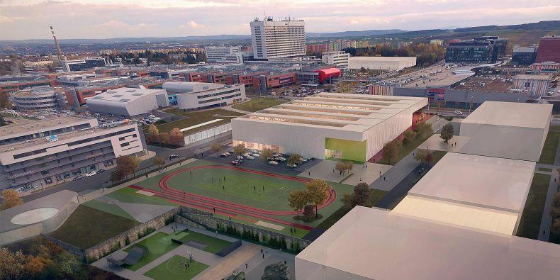 Vizualizace ukazuje atletickou halu v areálu univerzitního kampusu, která je ze všech zamýšlených staveb nejblíž skutečnému startu stavby.