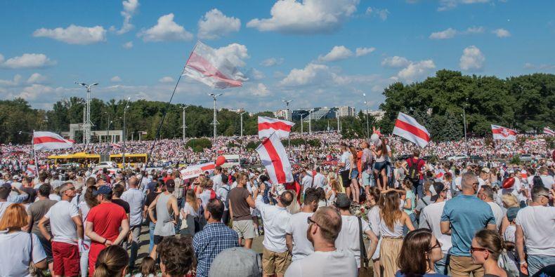 Protestní akce v Minsku.