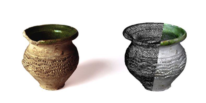 Původní archeologický artefakt (vlevo) a jedna z jeho vizualizací v databázi.