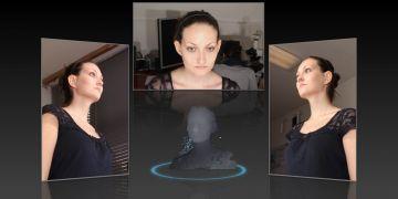 Přístroj snímá dobrovolníka ze tří stran. Z výsledků pak počítač vytvoří 3D model.