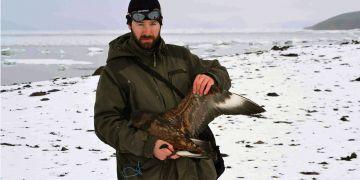 Marcel Kosina šetrně odchytil jedince chaluhy antarktické pro získání mikrobiologických vzorků.