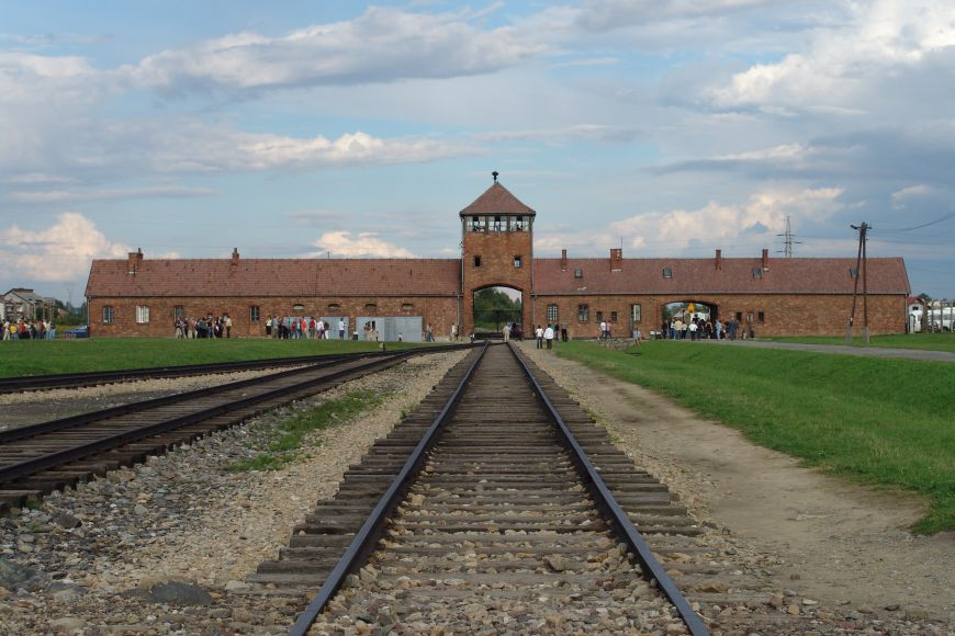 Main gate of Auschwitz-Birkenau concentration camp.