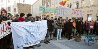 Studenti vyšli protestovat proti reformám do ulic Brna už na začátku února. Foto: Tomáš Muška.