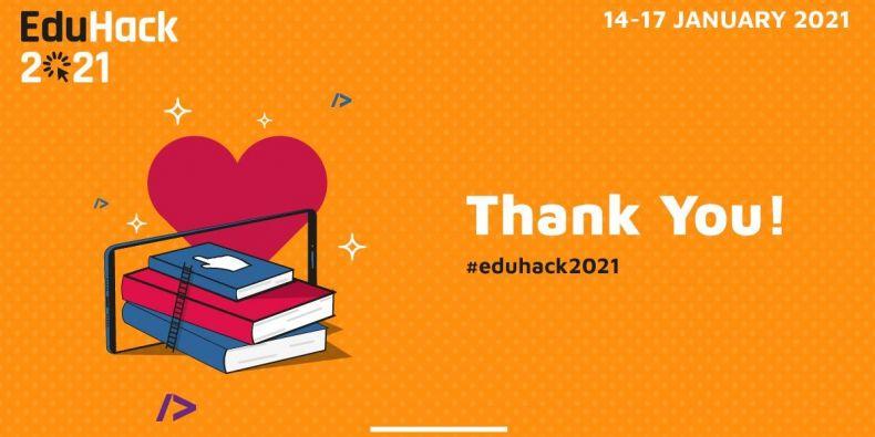 Poděkování za účast v soutěži EduHack 2021.
