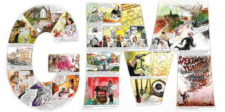 Komiksový příběh o Gregoru Mendelovi na panelech ve tvaru písmen jeho jména.