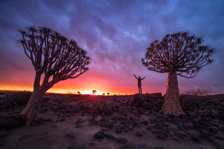 Západ slunce vQuivertree forest vNamibii.