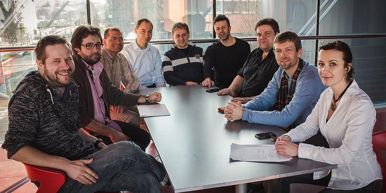 Zleva: Vítězslav Bryja, Lukáš Trantírek, Jiří Damborský, Pavel Plevka, Karel Říha, Richard Štefl, Martin Anger, Lumír Krejčí a Štěpánka Vaňáčová.