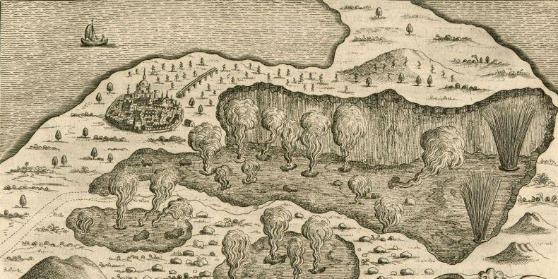 Kniha Podzemní svět je doprovázena bujarými barokně dramatickými obrázky aktivních vulkánů