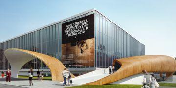 Pavilon D, ve kterém centrum vznikne, se vyčlení z areálu brněnského výstaviště a bude dostupný z ulice Křížkovského. Vizualizace: MSCB.