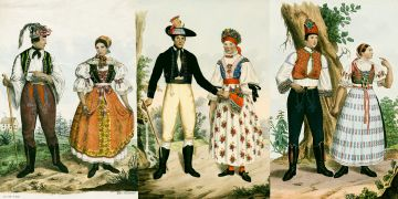 Ukázky lidových oděvů z 19. století.