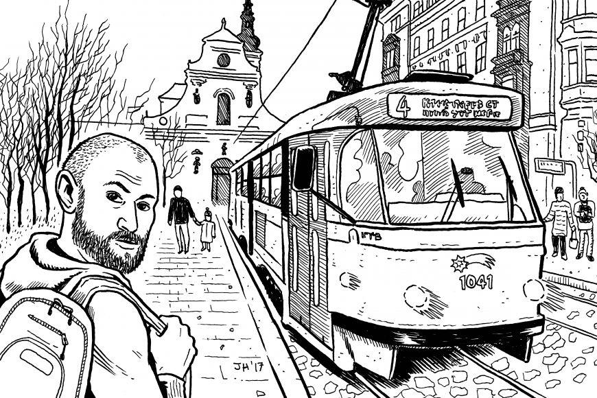 Justin Hall zavzpomínal na svůj podzimní pobyt vBrně vlastní ilustrací sautoportrétem.