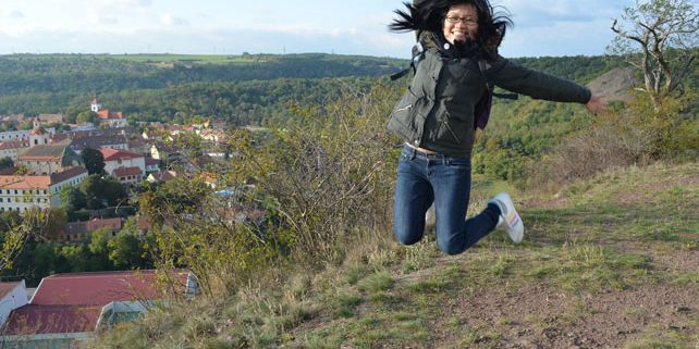 Twenty-one-year old student from Hong Kong, Shan, during her stay in the Czech Republic. Photograph: Veronika Tomanová.
