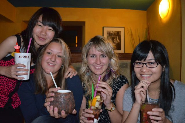 Shan (on the right) with her friends in Brno. Photograph: Veronika Tomanová.