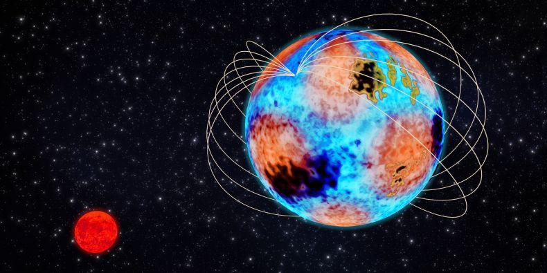 Umělecká představa systému HD 99458, který sestává z modrobílé hlavní složky a malého červeného trpaslíka. Obrázek schematicky ukazuje všechny pozorované efekty na hlavní hvězdě – silné magnetické pole, chemické skvrny (tmavě modře a žlutě) a hvězdné pulzace znázorněné střídajícími se oranžovými a modrými oblastmi povrchu.