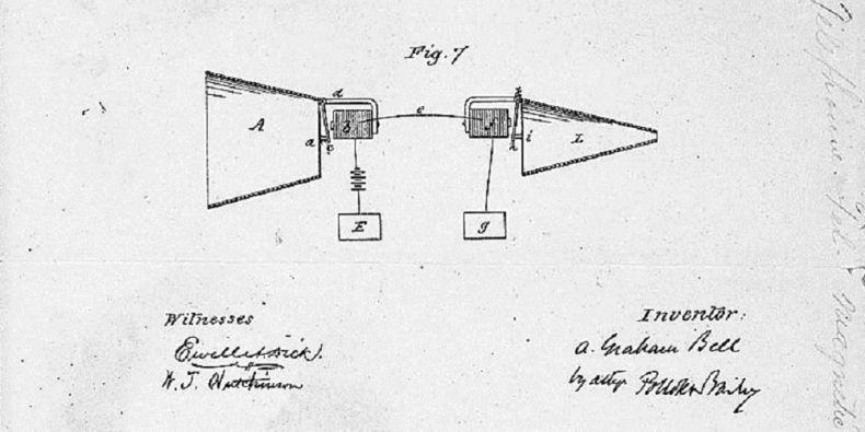 Kresba Alexandra Grahama Bella k patentu telefonu.