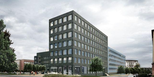 Pro potřeby vědecko-technického parku apodnikatelského inkubátoru bude postavena nová sedmipatrová budova A2 (prodloužení budovy C na jihozápadním nároží) akryté parkoviště. Vizualizace pohledu zrohu ulic Botanická aHrnčířská.