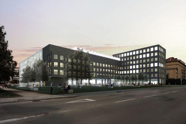 Fakulta získá novou čelní pětipatrovou budovu A1 sparkovištěm. Vnovém křídle budou umístěny posluchárny, učebny, laboratoře, kanceláře, knihovna amoderní datové centrum. Vizualizace pohledu zulice Botanická.
