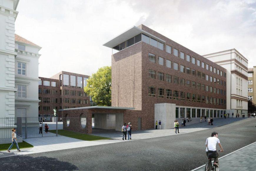 Studie nové vstupní budovy filozofické fakulty na Arna Nováka.
