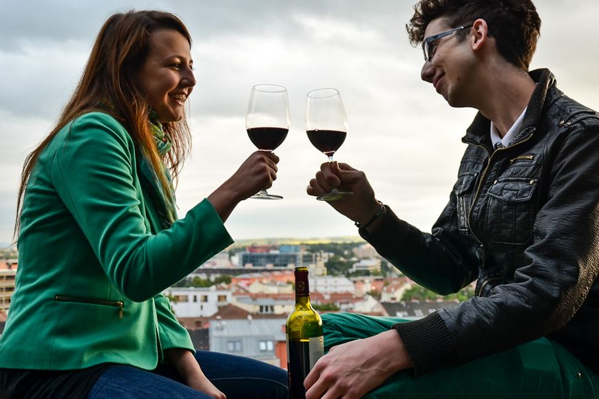 Sit on the walls under the Cathedral of St Peter and St Paul with a bottle of wine.
