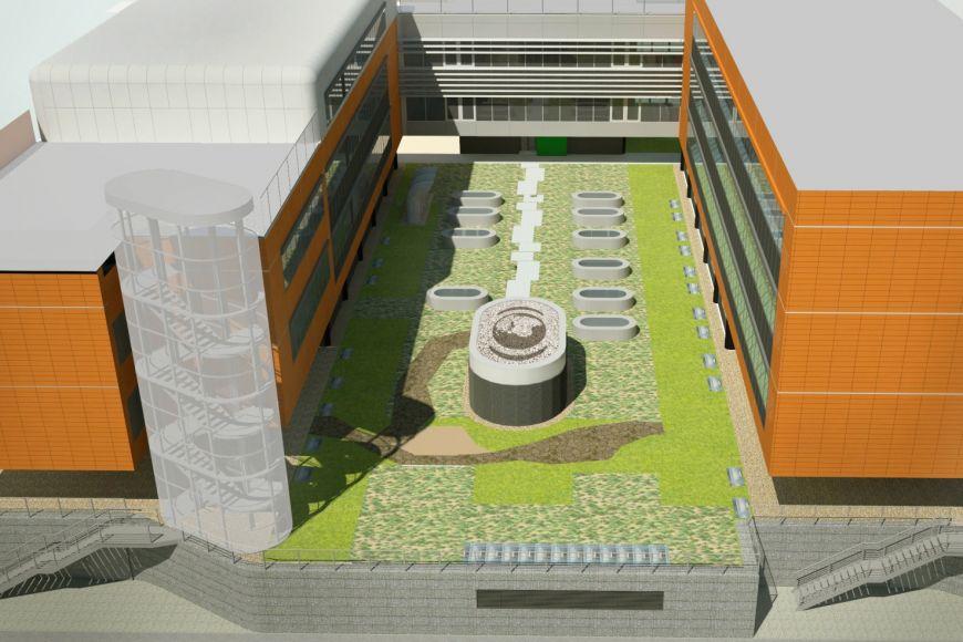 Vizualizace biobanky, která bude pod zemí vseverní části kampusu mezi pavilony centra RECETOX aINBIT.