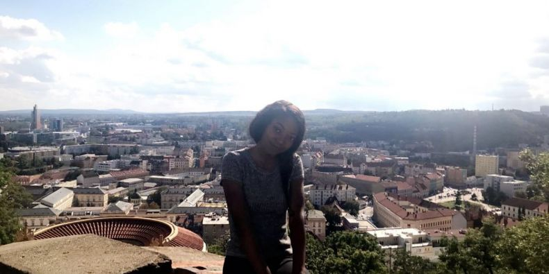 Me with a city view of Brno.