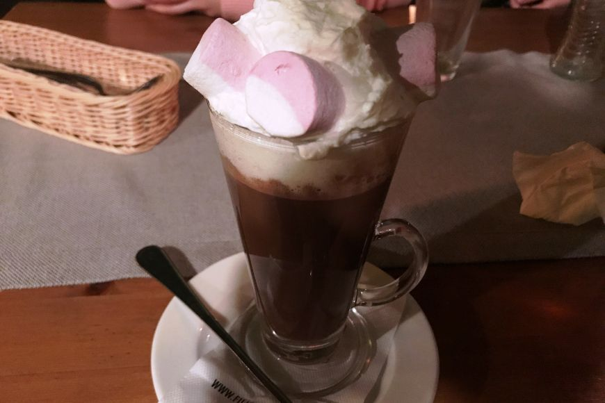 Proper hot chocolate with whipped cream that tastes as it should.