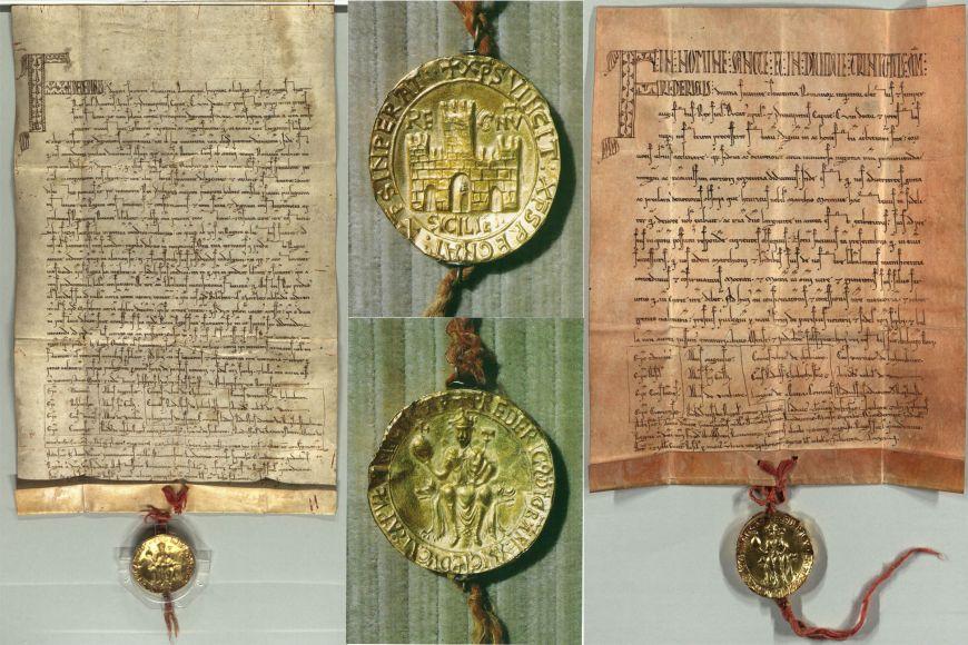 Nejdůležitější ze tří listin označovaných jako Zlatá bula sicilská (vlevo) alistina stajemným dvěma slovy Mocran at Mocran.