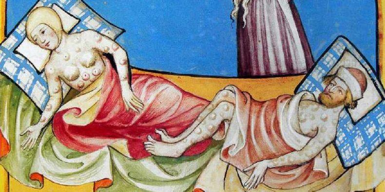 Nemocní morem z Toggenburské bible z roku 1411.