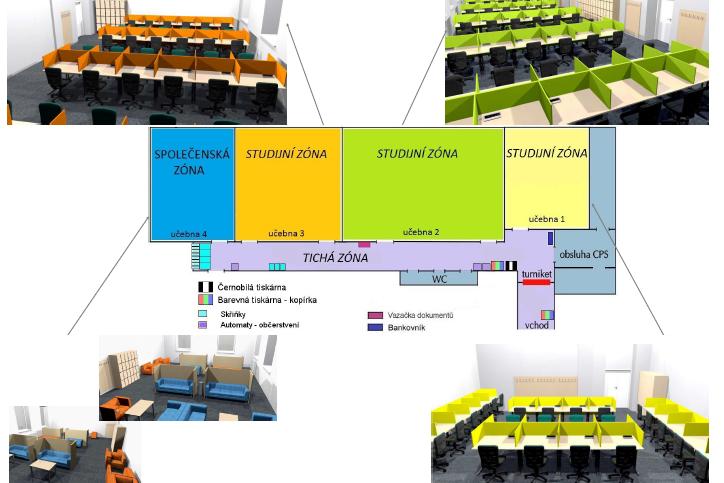Schéma nového uspořádání místnosti.
