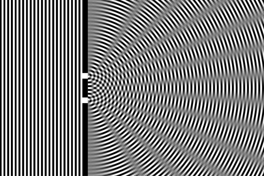 Jsou-li otvory dva, vlny od nich obou se za překážkou skládají. Šedá místa zde odpovídají tomu, že se vlny vzájemně vyruší, atedy temnotě, bílá ačerná místa pak odpovídají zesílení vln atedy světlu. Na stínítku pak vzniknou světlé atmavé skvrny.
