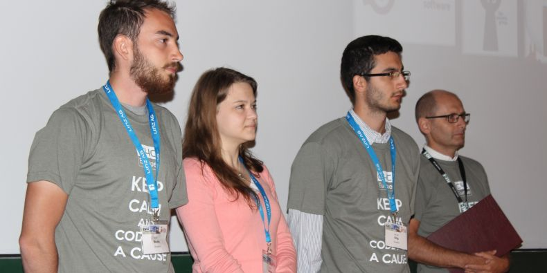 Studenti Filip Mrváň, Tereza Pařilová a Bruno Mižík.
