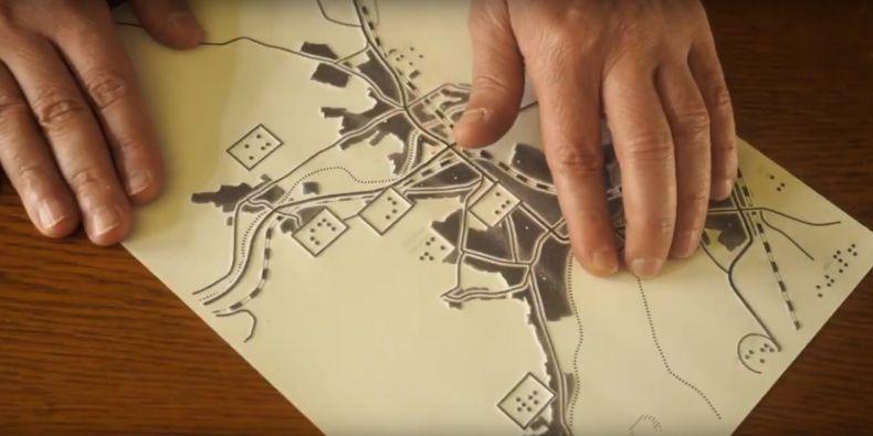 Mapa čitelná hmatem.