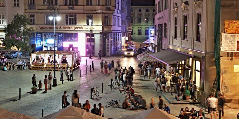 Unique atmosphere of Jakubské náměstí in the city center..