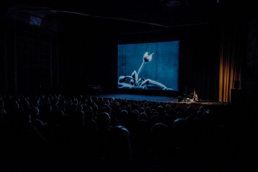 Julia Ulehla zpívající kfilmu Pohyby rostlin pro plný sál Univerzitního kina Scala.