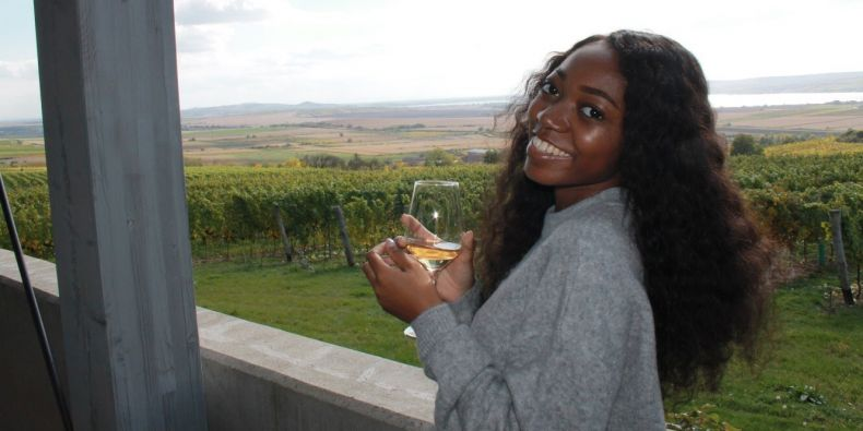 Me enjoying my free time at a winery.