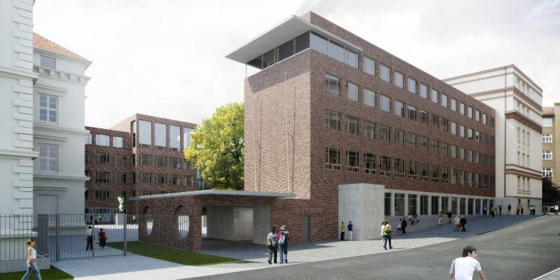 Vstupní budova D se bude o něco rozšiřovat a vznikne vedle ní i nový velký vchod do celého areálu.