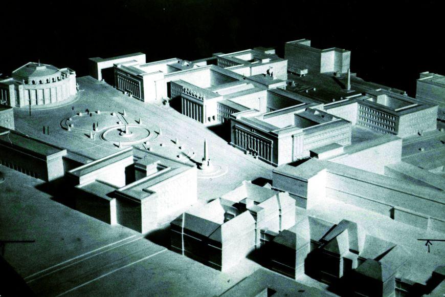 Model Akademického náměstí podle návrhu architekta Aloise Dryáka zroku 1925. Kvůli hospodářské krizi se uskutečnila  jen stavba právnické fakulty.