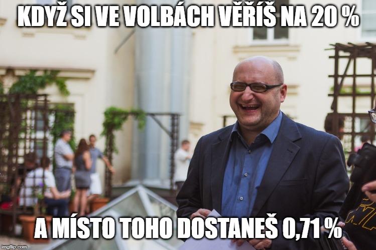 V memech se často objevuje populární politolog Lubomír Kopeček. Zde sodkazem na výsledek strany Realistů.