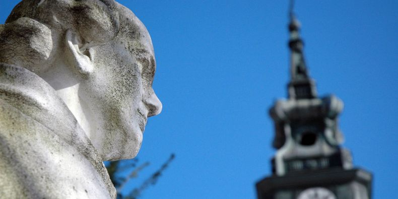 The statue of Mendel stands in front of the Abbey, right in the place where Mendel worked.