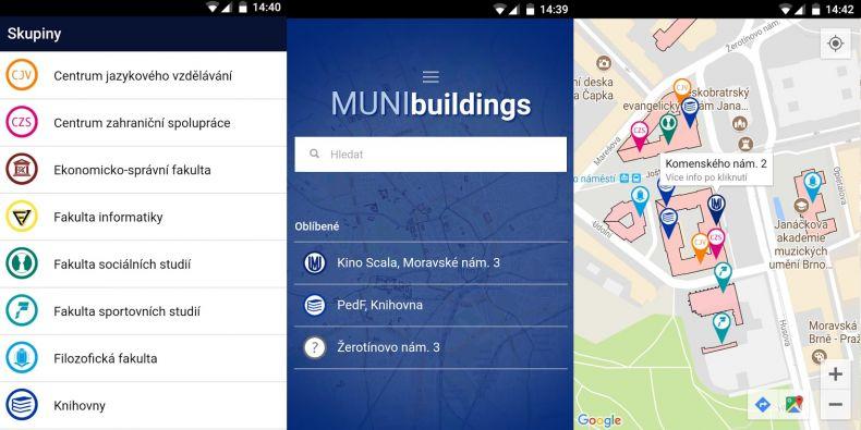 Aplikace dokáže s využitím GPS a Google map vyhledat cestu k vybrané budově pro chodce i motoristy, obsahuje informace o tamních pracovištích a odkazuje na jejich internetové stránky.