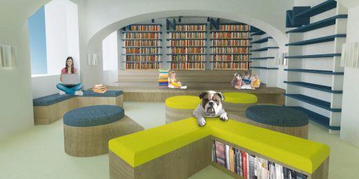 Jeden ze studentských návrhů na předělání knihovny.