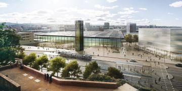 Jeden z návrhů řešení hlavního nádraží pod Petrovem.