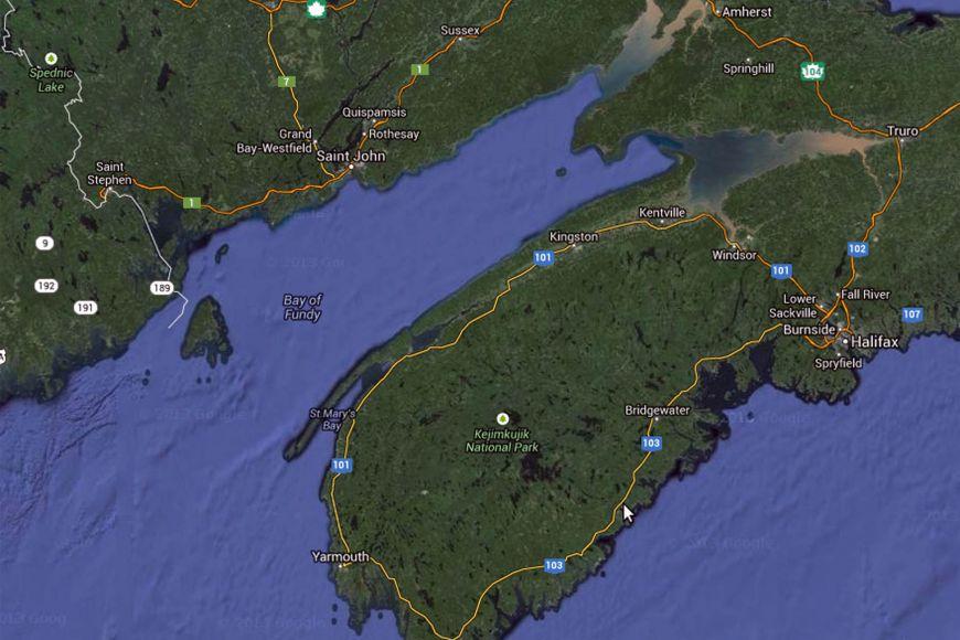 Bay of Fundy vKanadě, kde je největší příliv aodliv na světě.