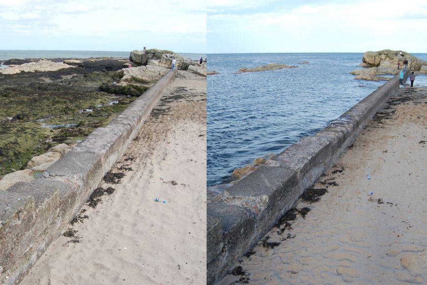 Stejné místo za přílivu aza odlivu ve skotském St. Andrews. Snímky byly pořízeny ve stejný den sodstupem asi šesti hodin.
