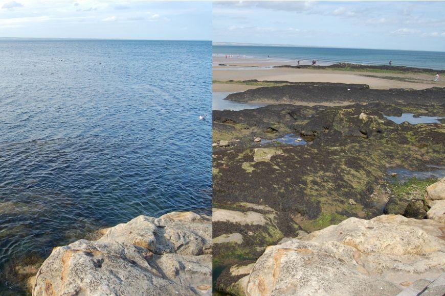 Pláž West Sands vSt. Andrews je za přílivu široká místy pouhých několik metrů, zatímco za odlivu má kolem 300 metrů. Rozdíl výšek hladiny moře vlivem slapů zde za úplňku či novu dosahuje až pěti metrů.